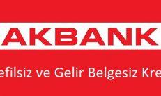 Akbank gelir belgesiz ve kefilsiz kredi (2018)